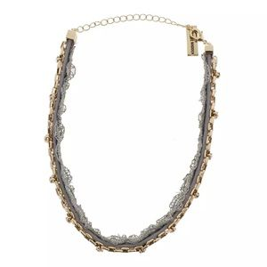Steve Madden Womens Gray Crystal Lace Choker